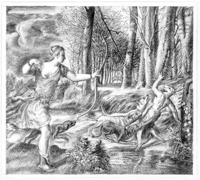 Image result for titian death of actaeon